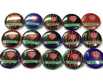"Zombie Magnet, 1"" Button Magnet, Zombie Love, Zombie Button, Zombie Party, Zombie, Zombie Theme, Zombie Brain, Zombie Birthday, Brain, Heart"