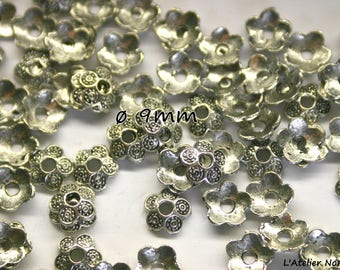 20 Perle silver color bead caps antique o9mmx 3mm (for ø8mm beads)