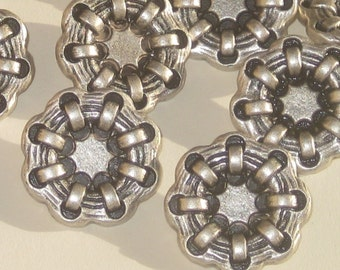 Scalloped Flower Shape Set 10 vtg new antiqued SILVER metal buttons Weighty 7/8""