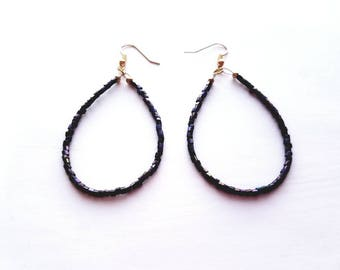 Gold plated Oval Hoop Pierced Dangle Earrings with Iridescent Purple Cut Glass Seed Beads, Handmade