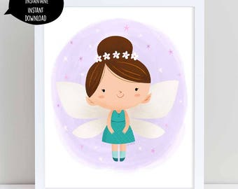 fairy illustration, fairy art, purple fairy, fairy illustration, nursery wall art, flower fairy, cute fairy, girl room decor, printable art