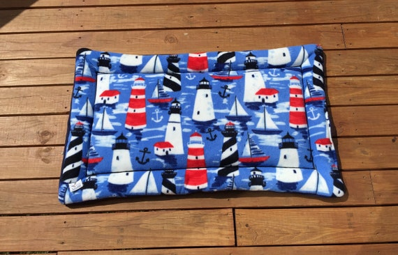 Nautical Dog Crate Pad with Lighthouses, Big Puppy Bedding, New England Decor, Coastal Bedding, Large Breed Dogs, Fits 30x48 Kennel