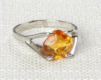 Yellow Rhinestone Vintage Ring Silver Citrine Small Orange US Womens Sizes Vary 7D