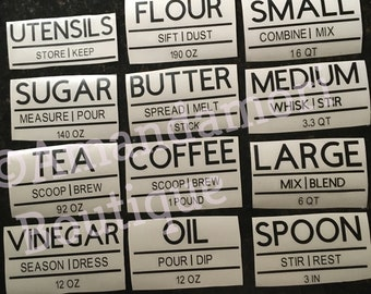 Large Pantry Stickers, Kitchen Canister Labels, Kitchen Label Decals