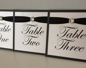 Diamante Circle Embellishment | Ribbon | Wedding Table Names/Numbers