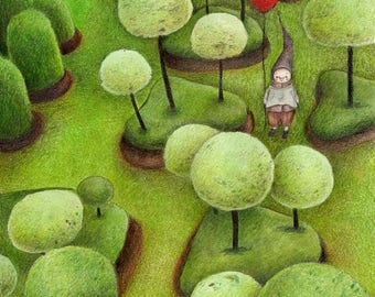 Baloon Garden, Red Baloon, Art Print from and Original Drawing
