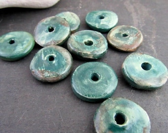 10 Medium Dark Aqua Brown Glazed Ceramic Washer Beads