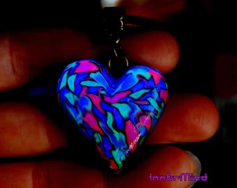 FREE Shipping ! UV Heart Love Pendant  Necklace Psychedelic Necklace Blacklight Reactive Unisex Polymer Clay Psytrance Colorful