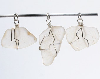 Sea Glass Pendants- silver & white beach glass pendants, beach jewelry, seaglass pendant, wire wrapped sea glass, recycled glass pendants