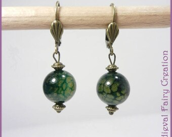 "Earrings ""Blue-green dragon veins"" agate and brass"