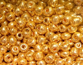 20 g 2 mm - gold shiny ROC81 glass seed beads