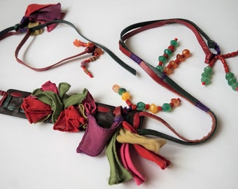 Vintage Hippie Leather Fun Colourfull Belt with beads and fabric