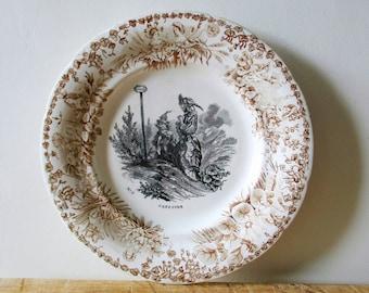 """Antique french """"Capucine"""" plate 1800s, Creil et Montereau France,  Assiette parlante, Vintage"""