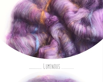 "Hand carded batt ""LUMINOUS"" with mulberry silk - spinning felting weaving"