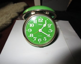 1960s Coral Brand Name - Lime Green w/Brass Trim Travel Wind-Up Alarm Clock - needs repair