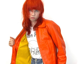 Acid Orange Real Leather Jacket with Yellow Lining - Vintage
