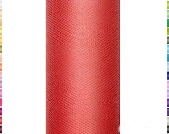 9 mètres de Tulle souple rouge en 15 cm de largeur vendu à la bobine