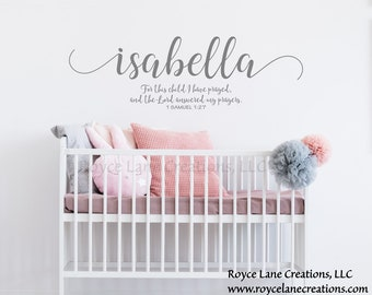 For This Child I Have Prayed Wall Decal / 1 Samuel 1 27 Decal /Name Nursery Decal / Bible Verse Nursery Decal / Bible Verse Nursery Wall Art