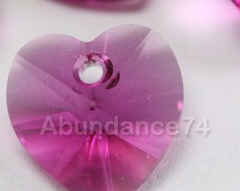 Swarovski Crystal 6202 10mm Faceted Xilion Heart Pendant FUCHSIA - Select Quantity