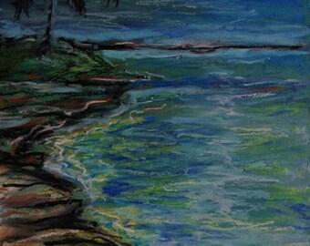 Ocean Art - Moon Art - Wall Art - Original Oil Pastel - Leah Reynolds