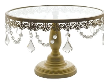 """Crystal Draped Round Metal Cake Stand Gold 14"""""""