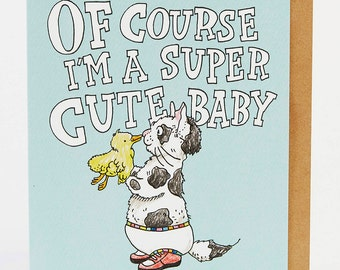 New baby card, funny new baby card, Congratulations baby card, 'Cute Baby Mum', handmade, hand drawn