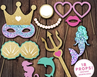 Mermaid props, Mermaid party props, Mermaid party, Mermaid birthday invitation, Mermaid invitation, Mermaid costume, Mermaid birthday