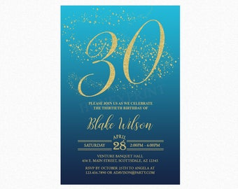 Milestone Birthday Party Invitation, Ombre Blue, Gold Glitter, 18th, 21st, 30th, Any Age, Personalized, Printable or Printed
