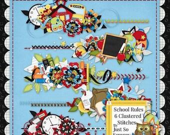 On Sale 50% Off Digital Scrapbooking Kit School Rules Cluster Stitches - Digital Scrap Kit