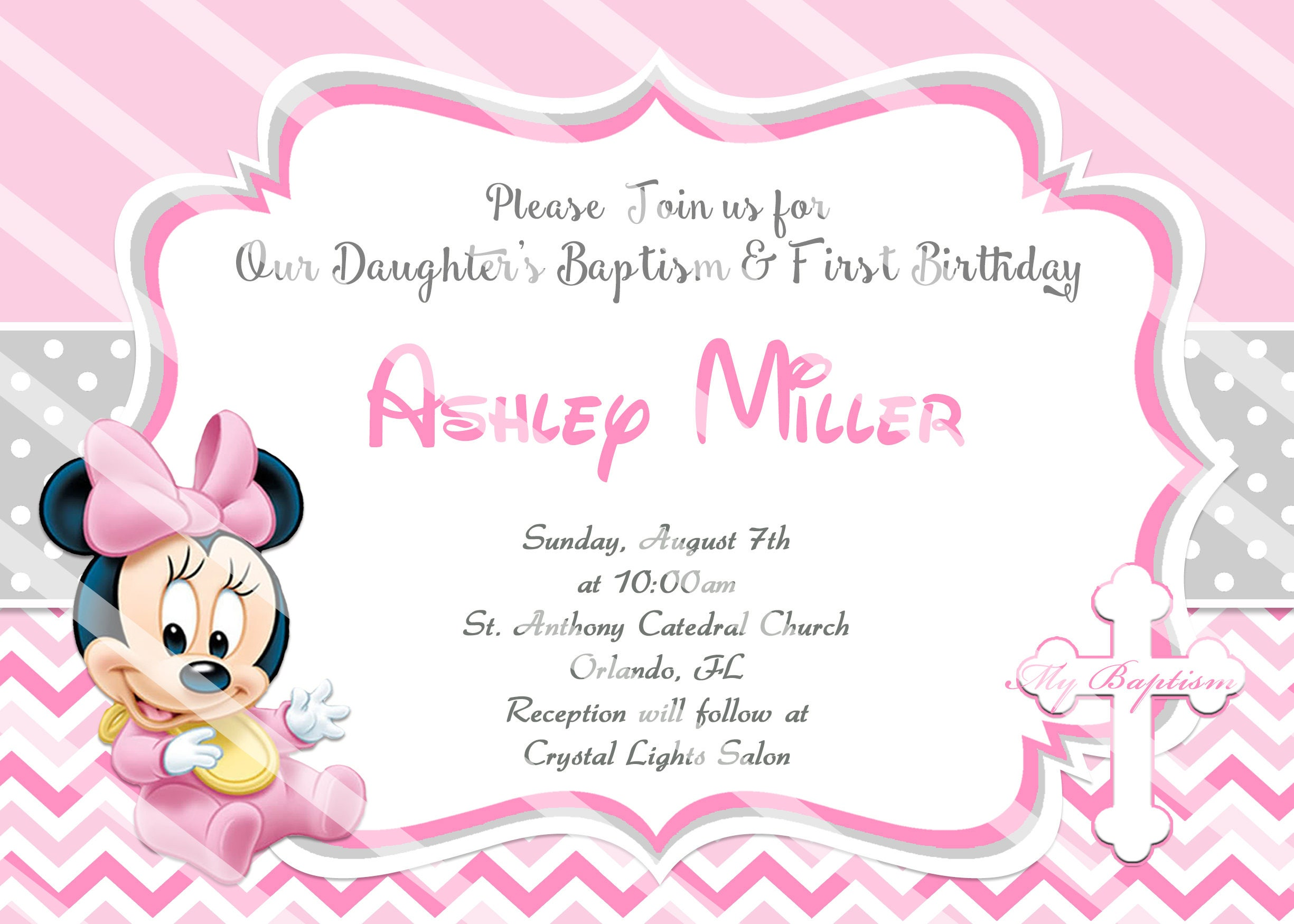 Baby Minnie Mouse Christening Invitations Baby Minnie Baptism