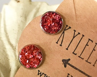 Red Glass Glitter Post Style Earrings, Druzy Look Earrings, Red and Silver Earrings that Glitter and Sparkle, Stud Earrings