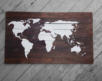 Traveler's Journey - Slatted Pine Map - LARGE
