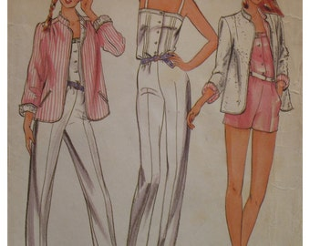 """Womens Pin Up Romper Pattern, Jumpsuit, Straps, Button Front, Sewn Tucks, Jacket, Notched Collar, Butterick 3705 Size 8 Bust 31.5"""""""