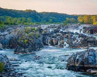 View of rapids in the Potomac River at sunset, at Great Falls Park, Virginia. Photo Print, Metal, Canvas, Framed.