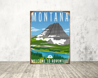 Montana metal sign, Montana sign, USA sign, Montana art, USA metal sign, American state sign, Decor sign, Custom sign, Treasure State sign,