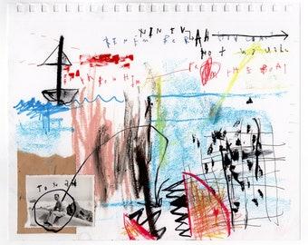 Jonah - Original Mixed Media Illustration / Collage