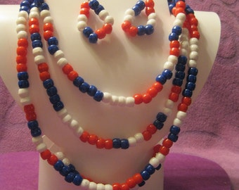 Long RED WHITE and BLUE  Long Necklace Jewelry Set