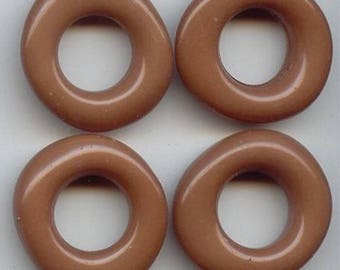6 Vintage Taupe Brown Acrylic 9x28mm. Baroque Nugget Ring Beads 6254