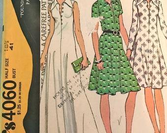 Elegant, Slimming Maxi Dress or Knee Length Dress Pattern---McCalls 4060---Size 18 1/2 Bust 41