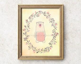 Nursery printable art, Bear nursery art, Bear nursery decor, Nursery printables, Printable nursery wall art, Bear baby shower, Instant art.
