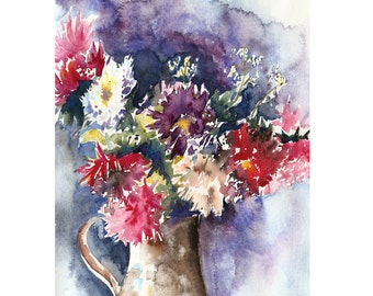 Bouquet of Asters Original Watercolor Painting