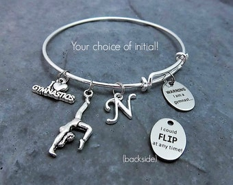 Gymnastics Gifts - Beware I am a Gymnast Could Flip at any Time - Charm Bracelet - Team Gift - Gymnast Gift - Personalized - Gift for Her