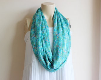 Aqua Infinity Scarf-Tiny Flowers Circle Scarf /Multicolor Loop Scarf/Tube Scarf