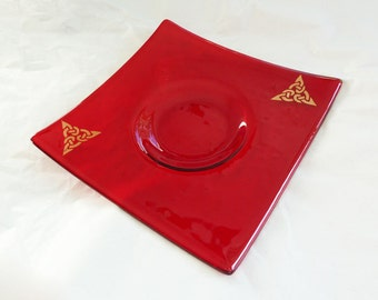Glass candlestand,  bright red fused glass with gold celtic knotwork design