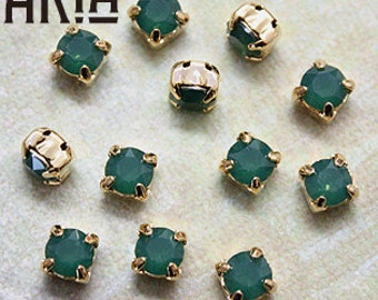 PALACE Green OPAL: Swarovski SS29 6.5mm 17704 Xilion Gold Plated Two Hole Sew-On Slider Bead Component (12)