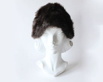 Vintage Dark Brown Faux Fur Hat