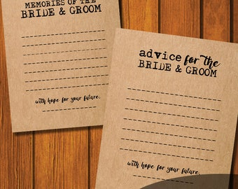 Bride and Groom Advice Card / Instant Download / Bride and Groom Memory Card / Alternative Guest book / Wedding Kraft Advice Card