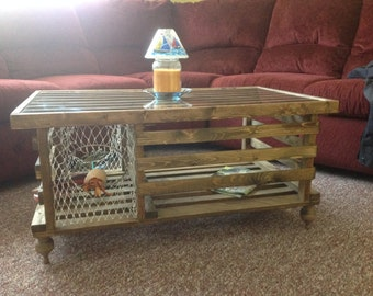 The Mahogany Stained Lobster Trap Coffee Table Made In Usa