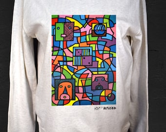 "Women's Sweatshirt Artused Design ""Le Dé"" 100% Organic - Paint & Print in France -"