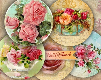 Roses Rock - 2.5 inch circles - set of 12 - digital collage sheet - pocket mirrors, tags, scrapbooking, cupcake toppers